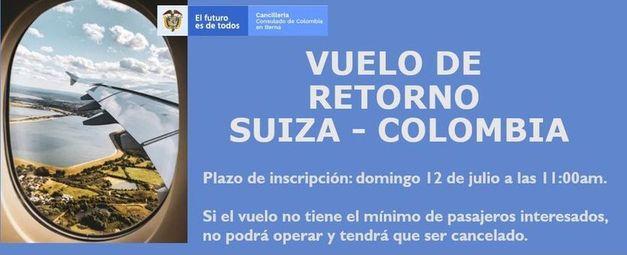 Vuelo de retorno               Suiza – Colombia